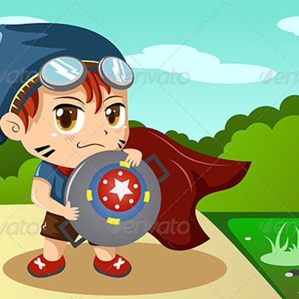 Boy in Superhero Costume