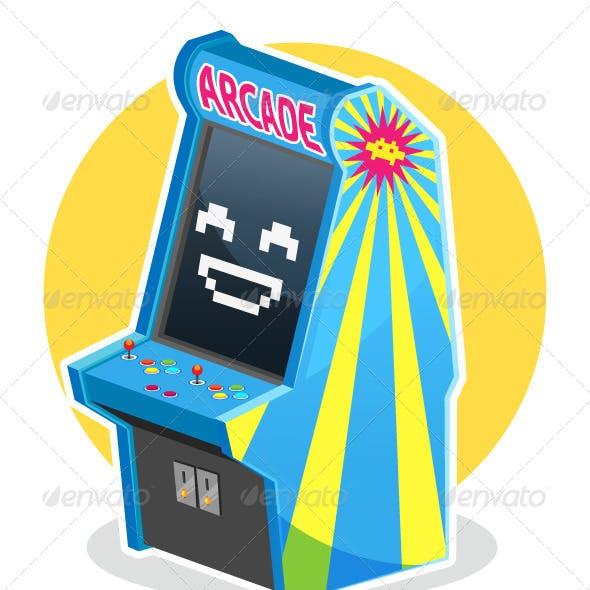 Blue Vintage Arcade Machine Game