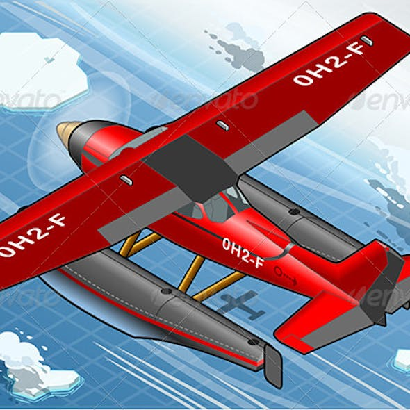 Isometric Arctic Hydroplane in Flight in Rear View