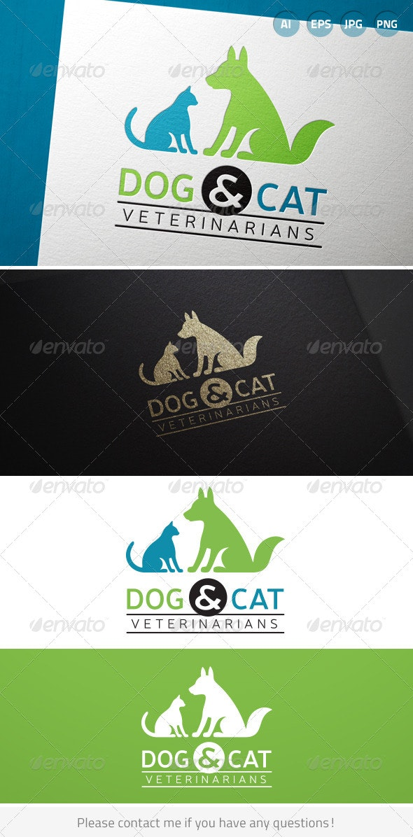 Dog and Cat Veterinarian Pet Hospital - Animals Logo Templates
