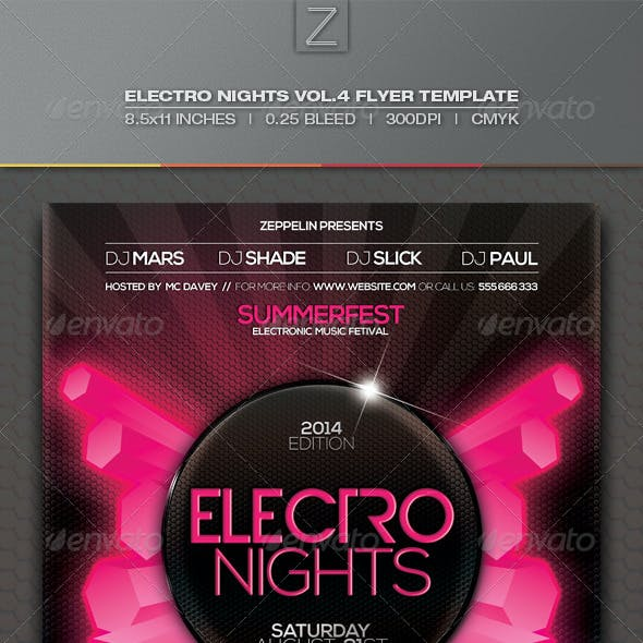 Electro Nights Vol.4 Flyer Template