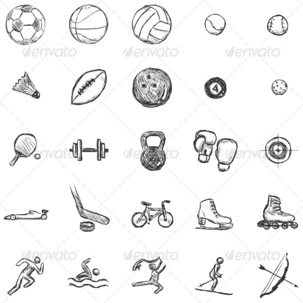 Vector Set of Sketch Sports Icons