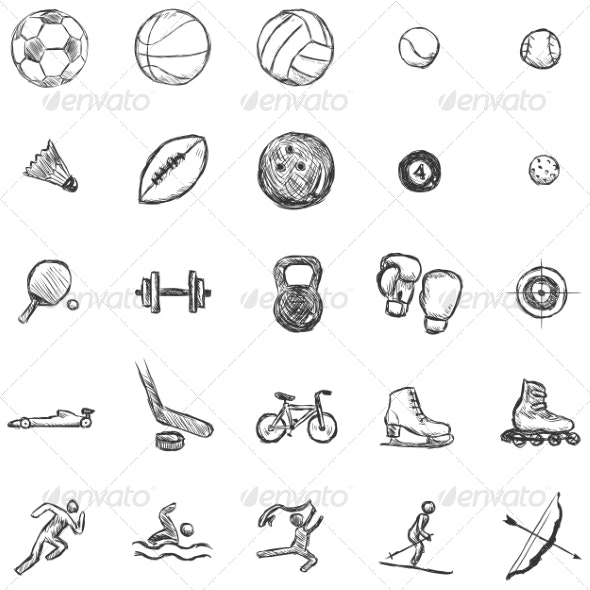 Vector Set of Sketch Sports Icons - Sports/Activity Conceptual