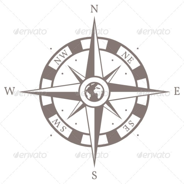 Vector Isolated Brown Wind Rose