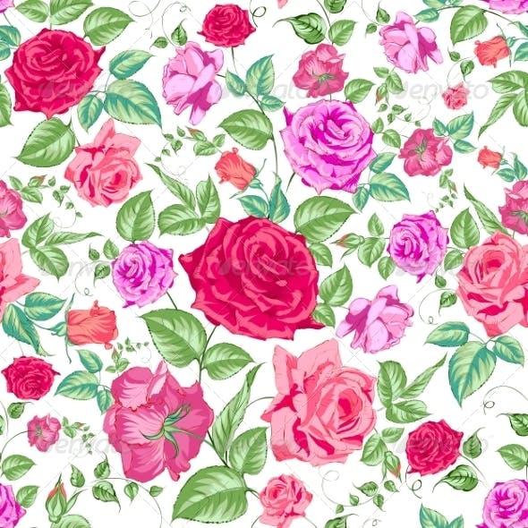 Roses Floral Background Seamless Pattern