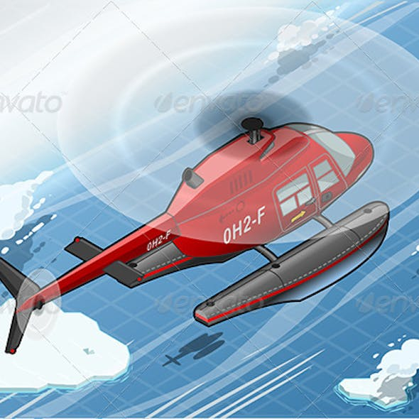 Isometric Arctic Emergency Helicopter in Flight