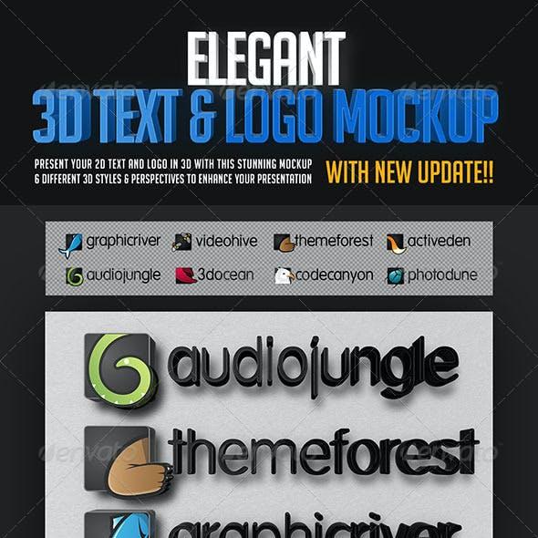 Elegant 3D Text & Logo Mockup