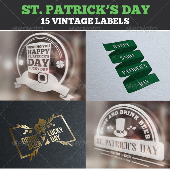 Saint Patrick's Day Vintage Labels & Badges Logos