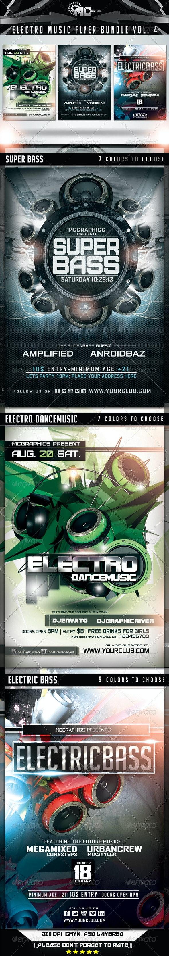 Electro Music Flyer Bundle Vol. 4 - Events Flyers