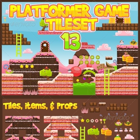 Platformer Game Tile Set 13