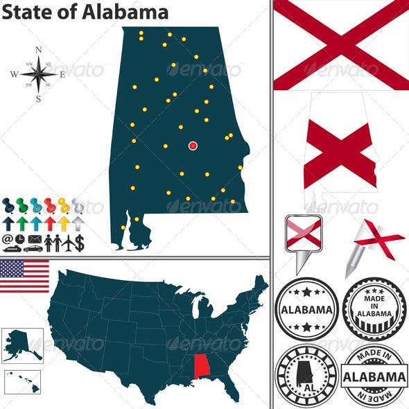 Map of State Alabama USA