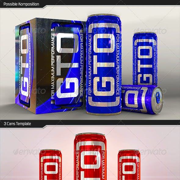 Energy Drink Sleek Can plus Tray Mockup