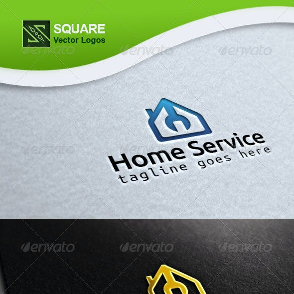 Home, Wrench Vector Logo Template