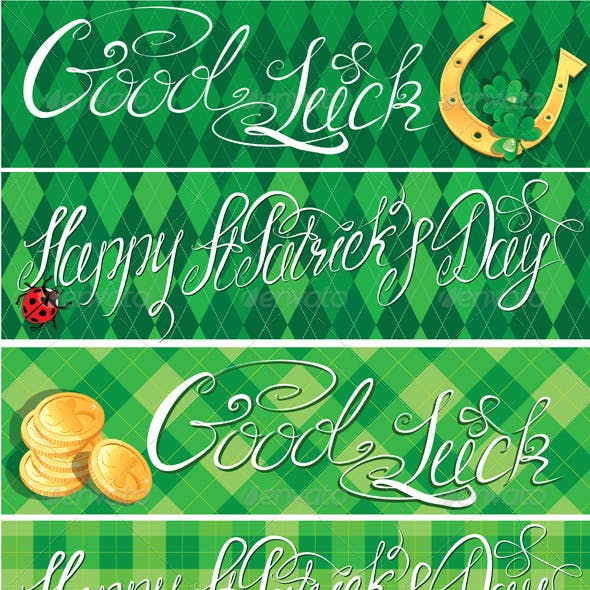 Happy St Patricks Day and Good Luck Banners