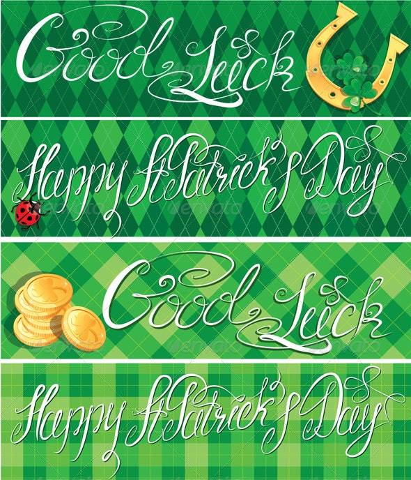 Happy St Patricks Day and Good Luck Banners - Seasons/Holidays Conceptual