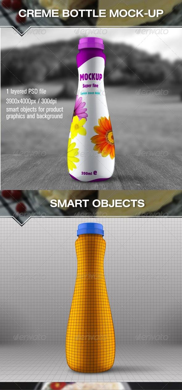 Cream Milk Bottle Mock Up - Food and Drink Packaging