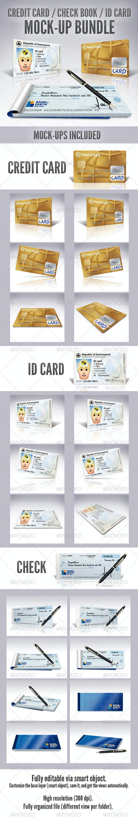 Credit Card / Check Book / ID Mockup Bundle - Miscellaneous Print