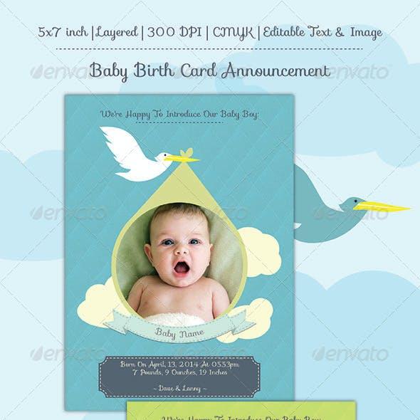 Baby Birth Announcement Card