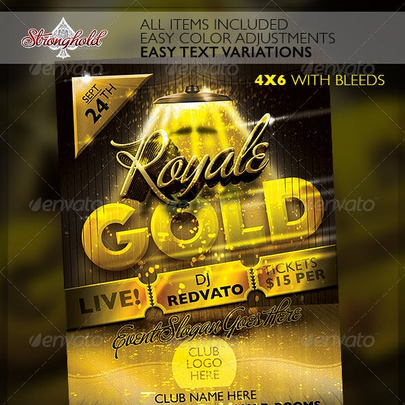 Royale Gold Ticket Party Flyer Template