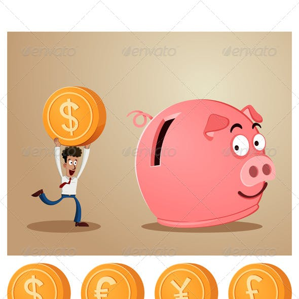 Saving Money Into Piggybank