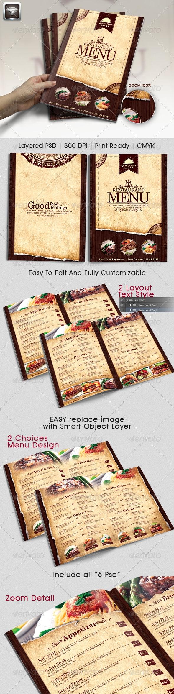 Modern Vintage Restaurant Menu Templates  - Food Menus Print Templates