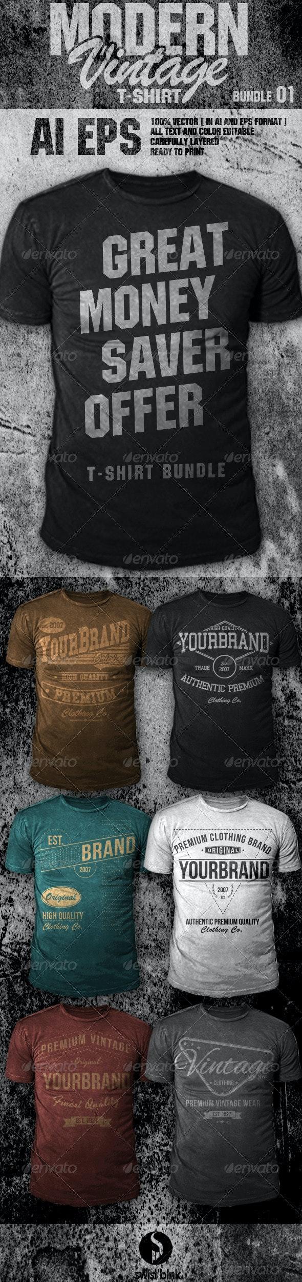 Modern Vintage T-Shirt Bundle 01 - Designs T-Shirts