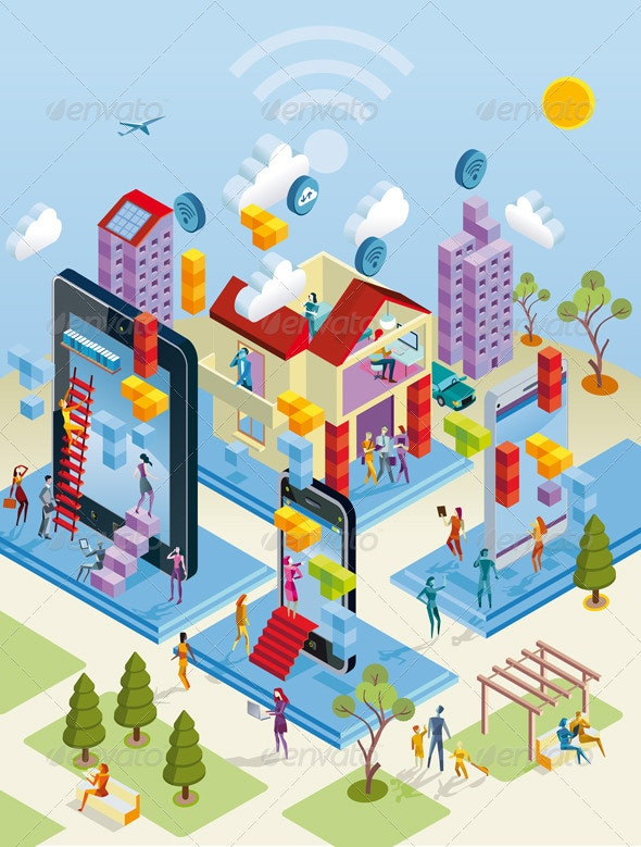 Wireless City in Isometric View - Web Technology
