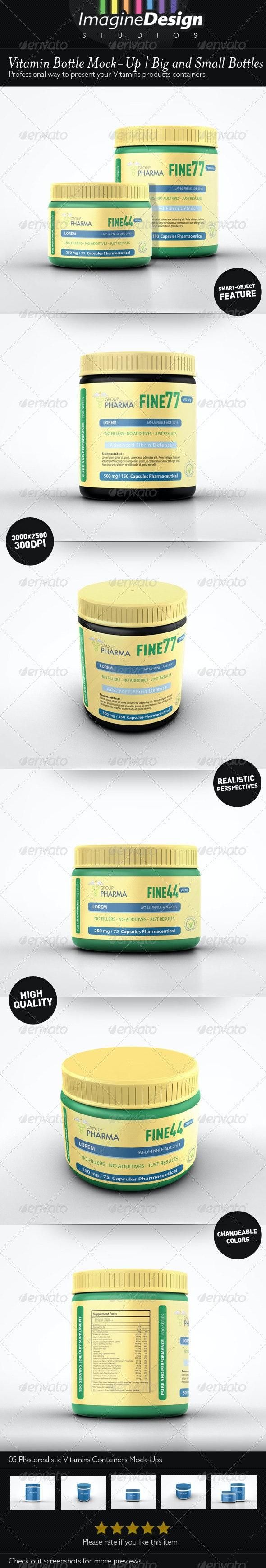 Vitamin Bottle Mockup - Packaging Product Mock-Ups