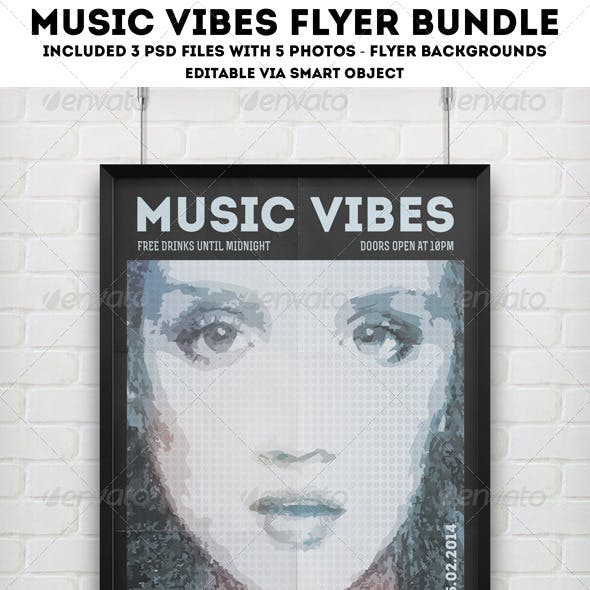 Music Vibes Flyer Poster Bundle 3 in 1