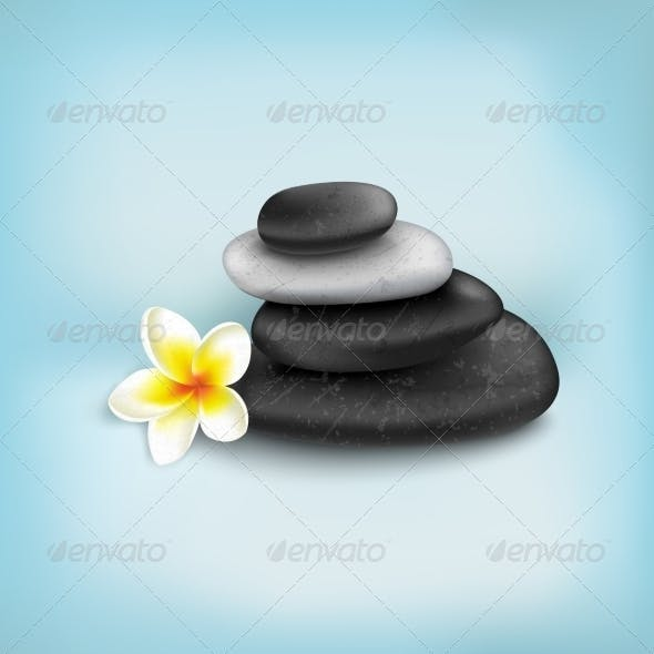 Spa Stones with Exotic Tropical Flower
