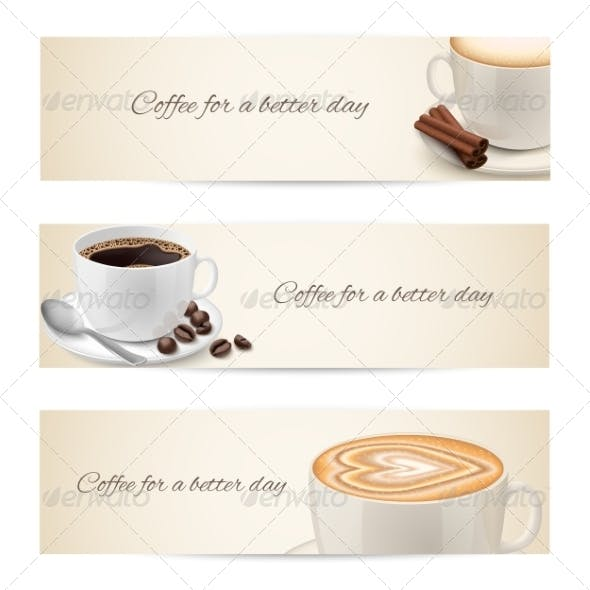 Collection of Banners with Coffee Cups