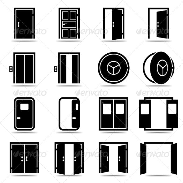 Open and Closed Doors Icons