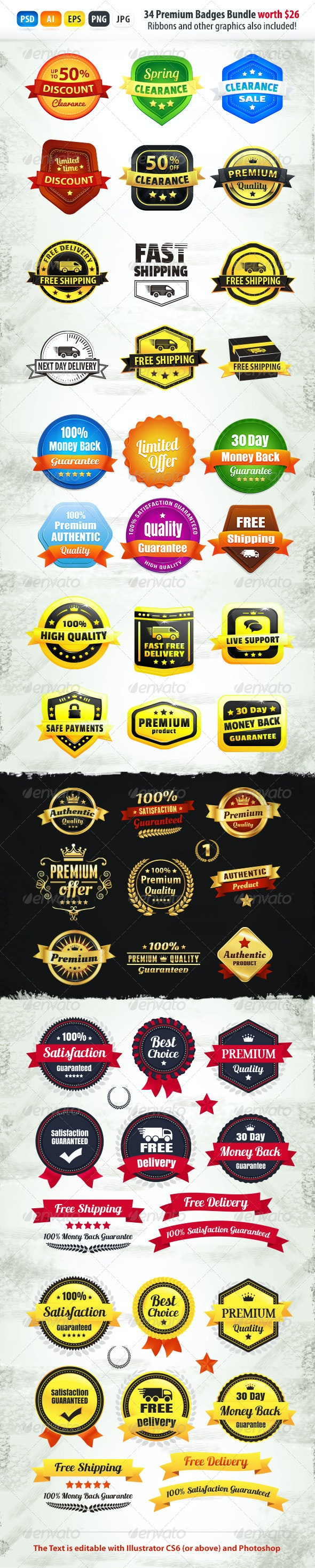 34+ Premium Badges Bundle - Badges & Stickers Web Elements