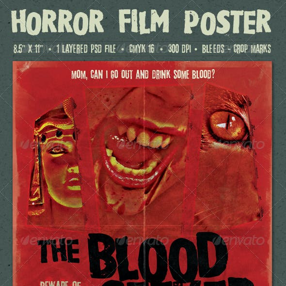 The Blood Seeker Vintage Style Horror Film Poster