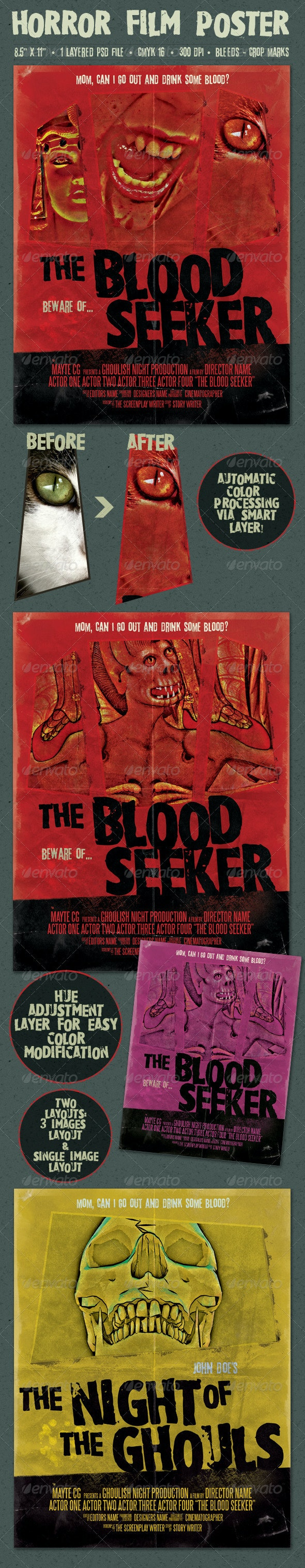 The Blood Seeker Vintage Style Horror Film Poster - Miscellaneous Events