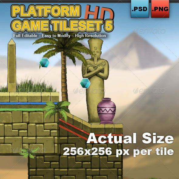 Platform Game Tileset 5: Egyptian Temple