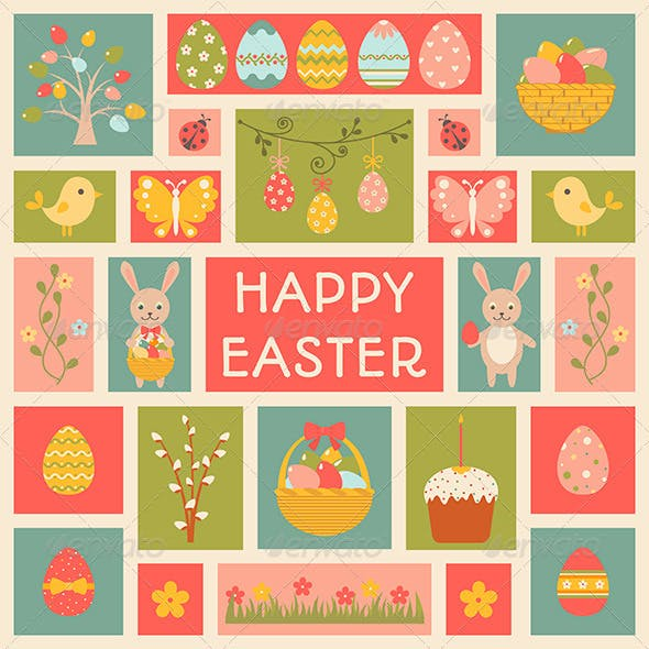 Holiday Card with Easter elements.