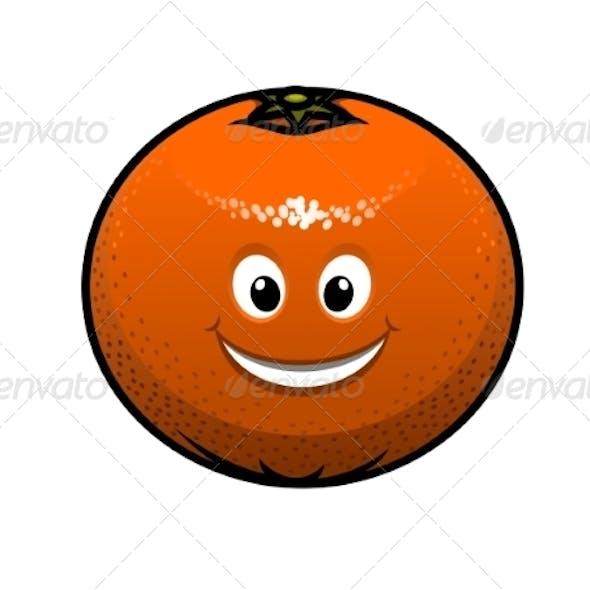 Cheerful Cartoon Orange Fruit