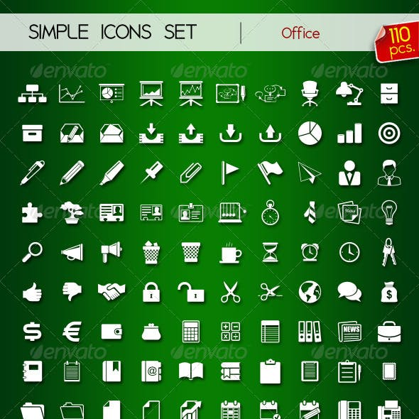 110 Simple Icons • OFFICE •