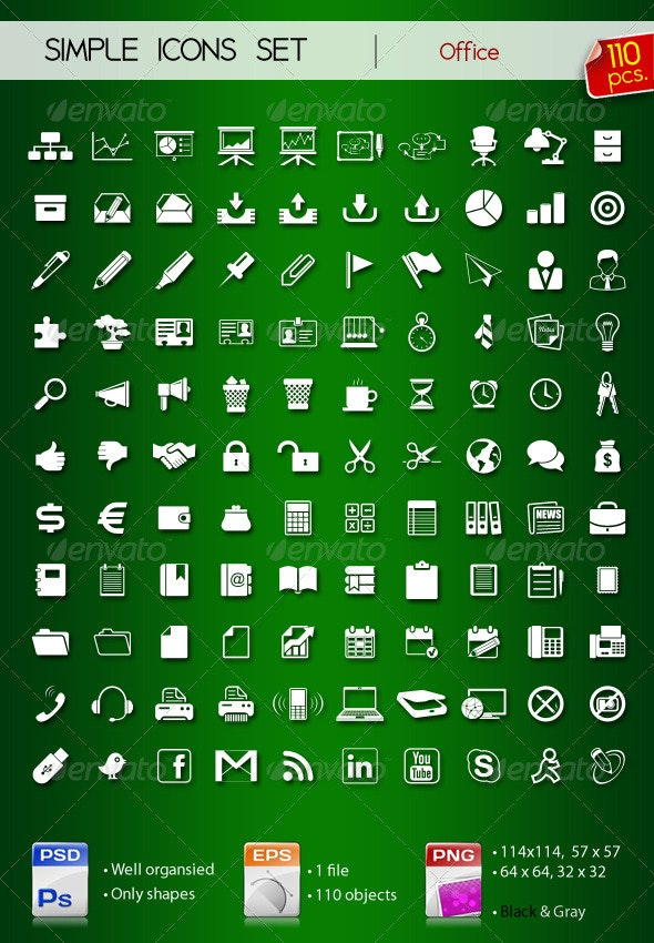 110 Simple Icons • OFFICE • - Web Icons