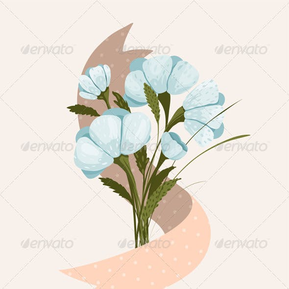 Spring Flowers Bouquet with Ribbon