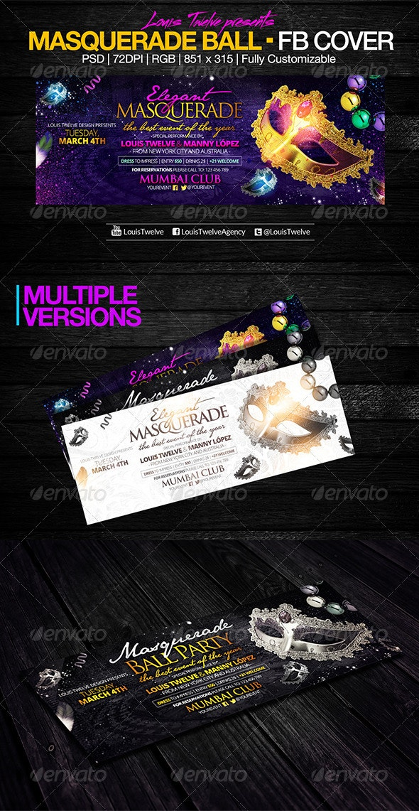 Masquerade Party | Facebook Cover - Facebook Timeline Covers Social Media