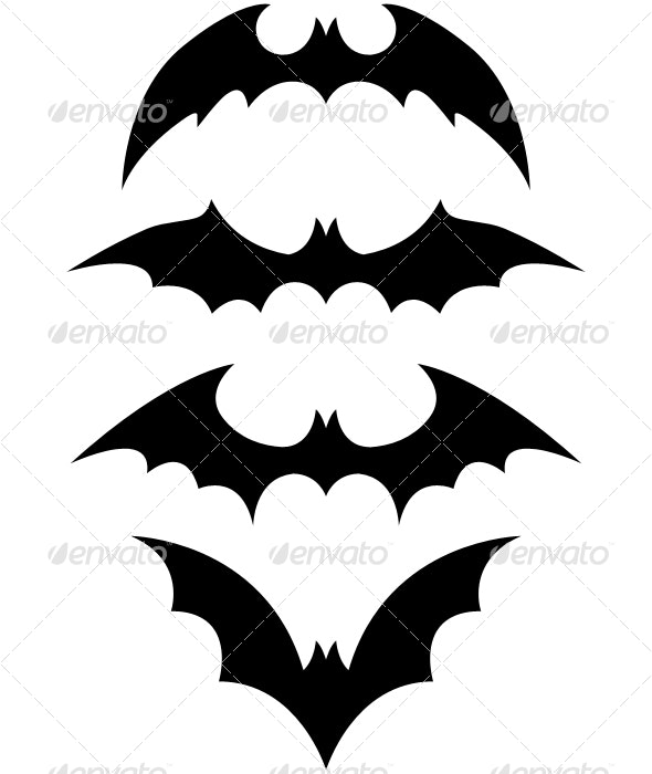 halloween black bat icon set - Halloween Seasons/Holidays