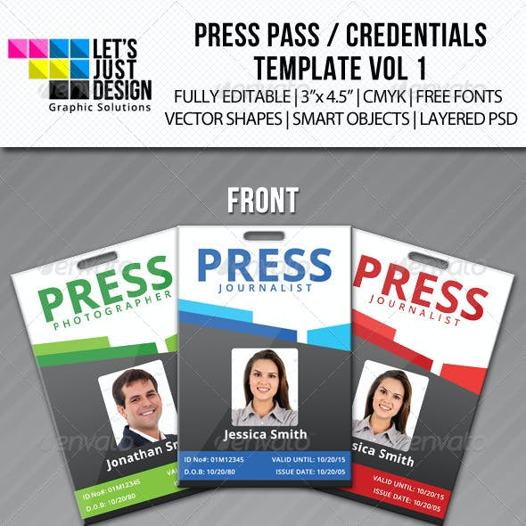 Press Pass / Credentials Template Vol 1