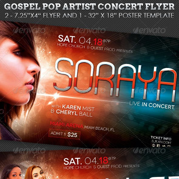 Gospel Pop Artist Concert Flyer Poster Template