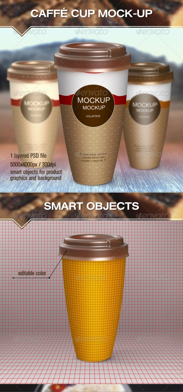 Hot Drinks Paper Cup Mock-Up - Food and Drink Packaging