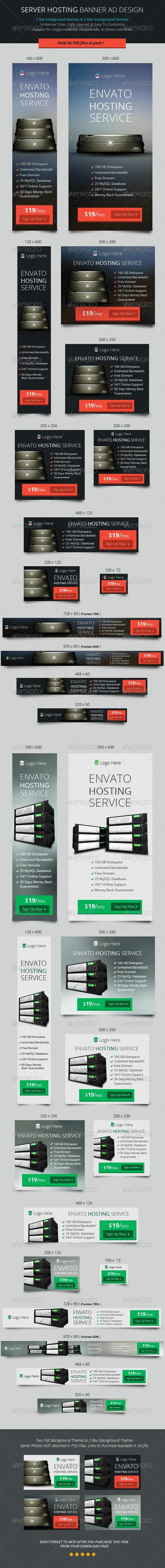 Server Hosting Banner ad Design - Banners & Ads Web Elements