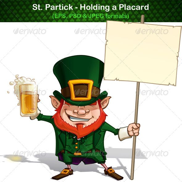 St. Patrick Holding a Placard