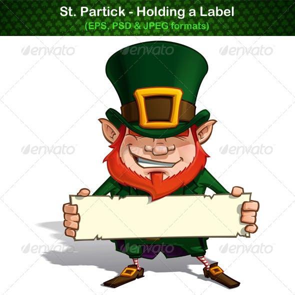 St. Patrick Holding a Label