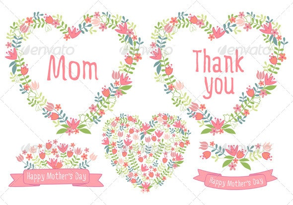 Happy Mother's Day, Floral  Vector Set - Seasons/Holidays Conceptual